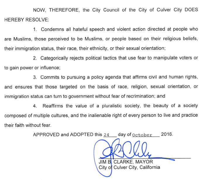 Cuvler City Anti-Hate Resolution